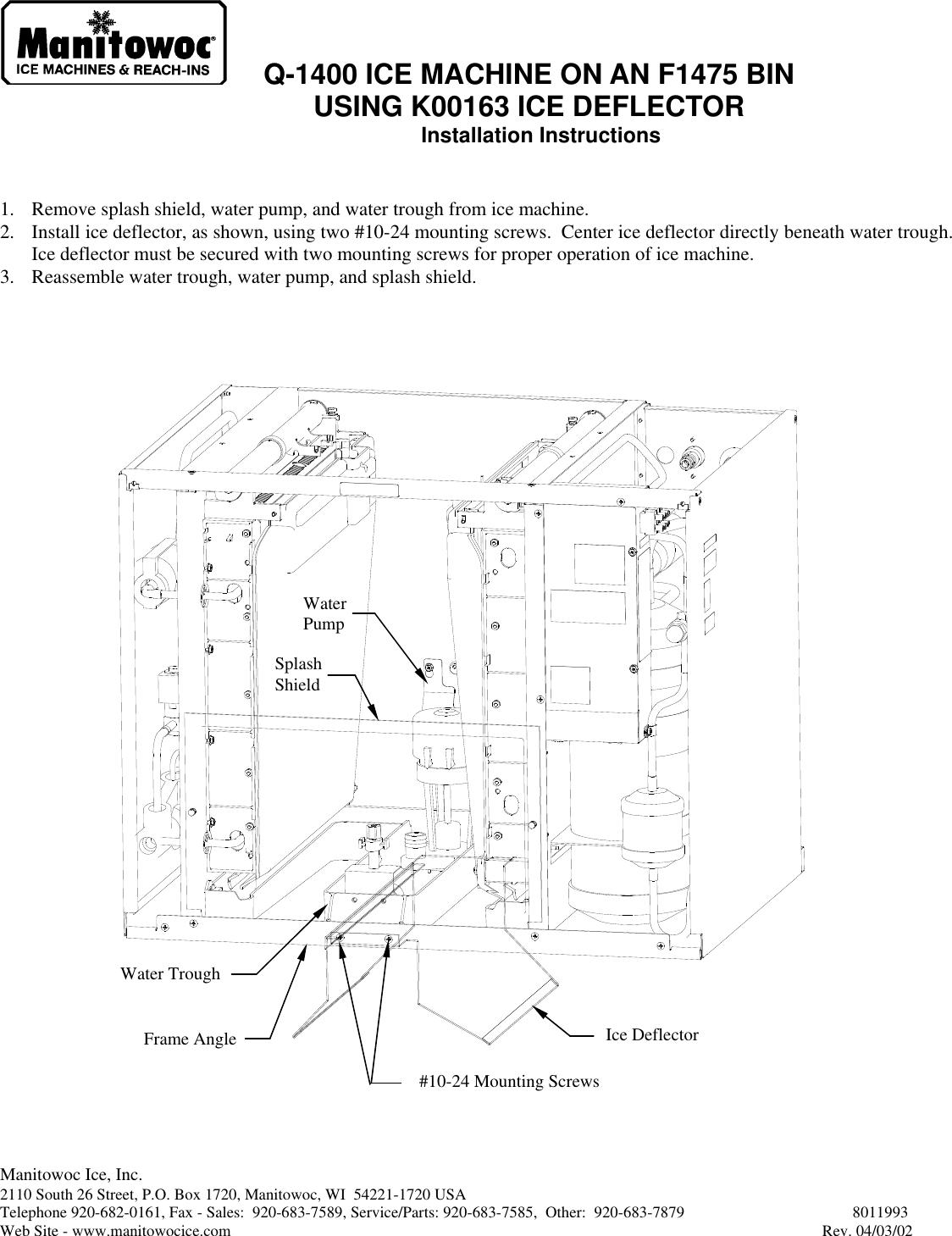Manitowoc Ice Bulkhead Q 1400 Users Manual on