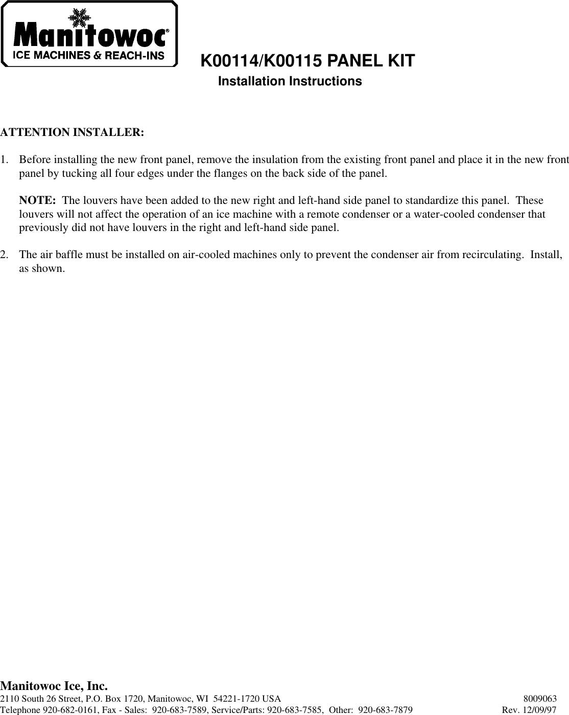 Manitowoc Ice K00114 Users Manual on