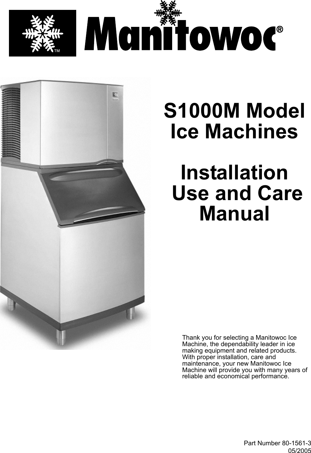 Manitowoc Ice S1000m Users Manual S1000m Uc 8015613 Manual Guide