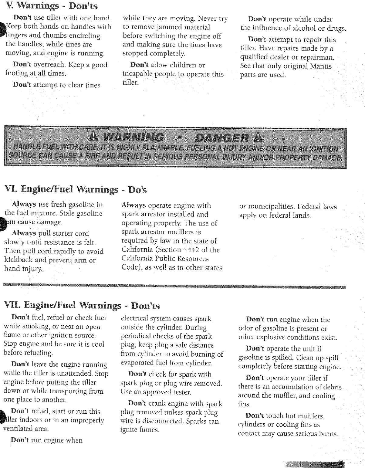 Mantis 7222E User Manual TILLER/CULTIVATOR Manuals And Guides L0705071