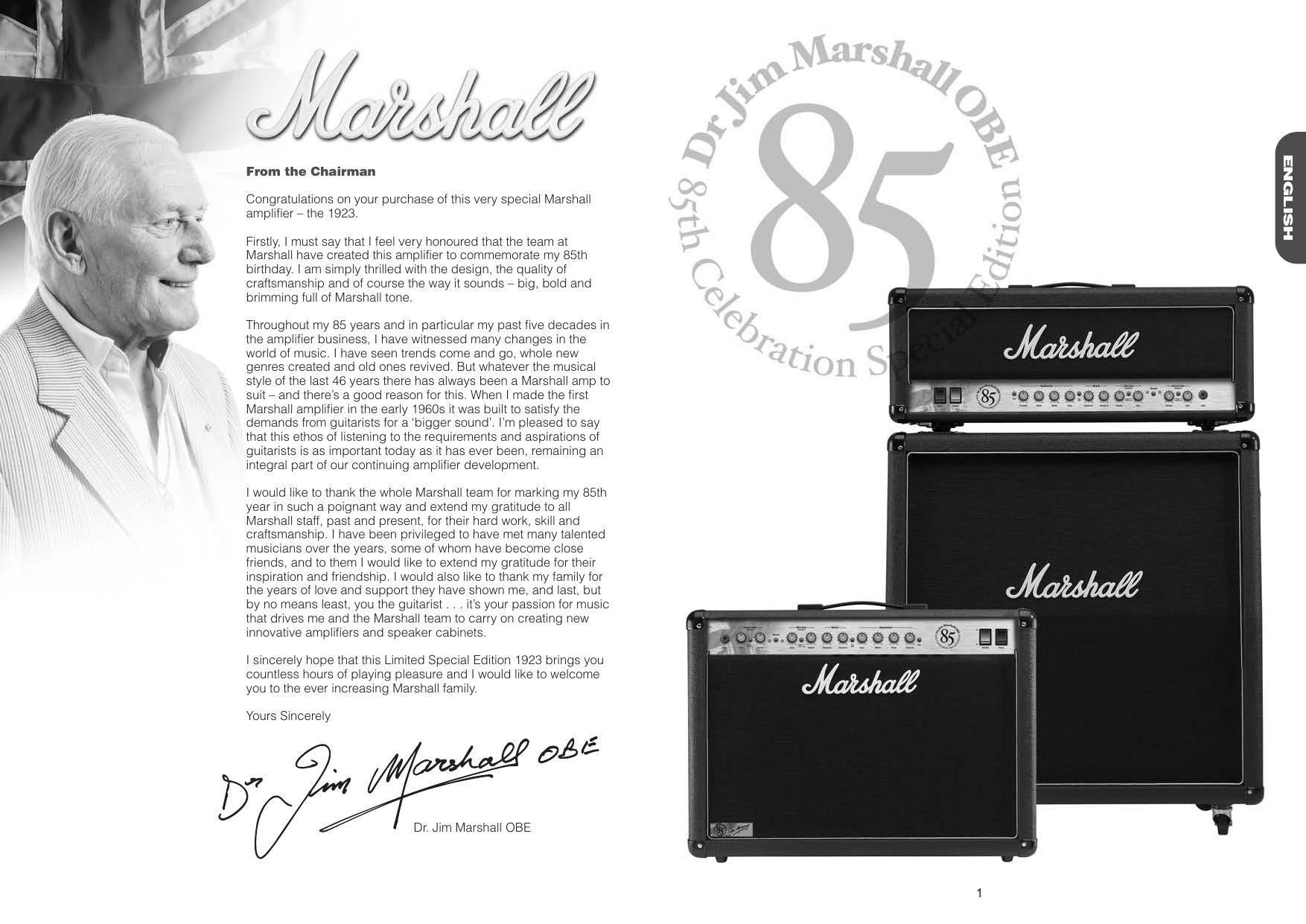 Page 2 of 4 - Marshall Marshall-1923-Users-Manual-  Marshall-1923-users-manual