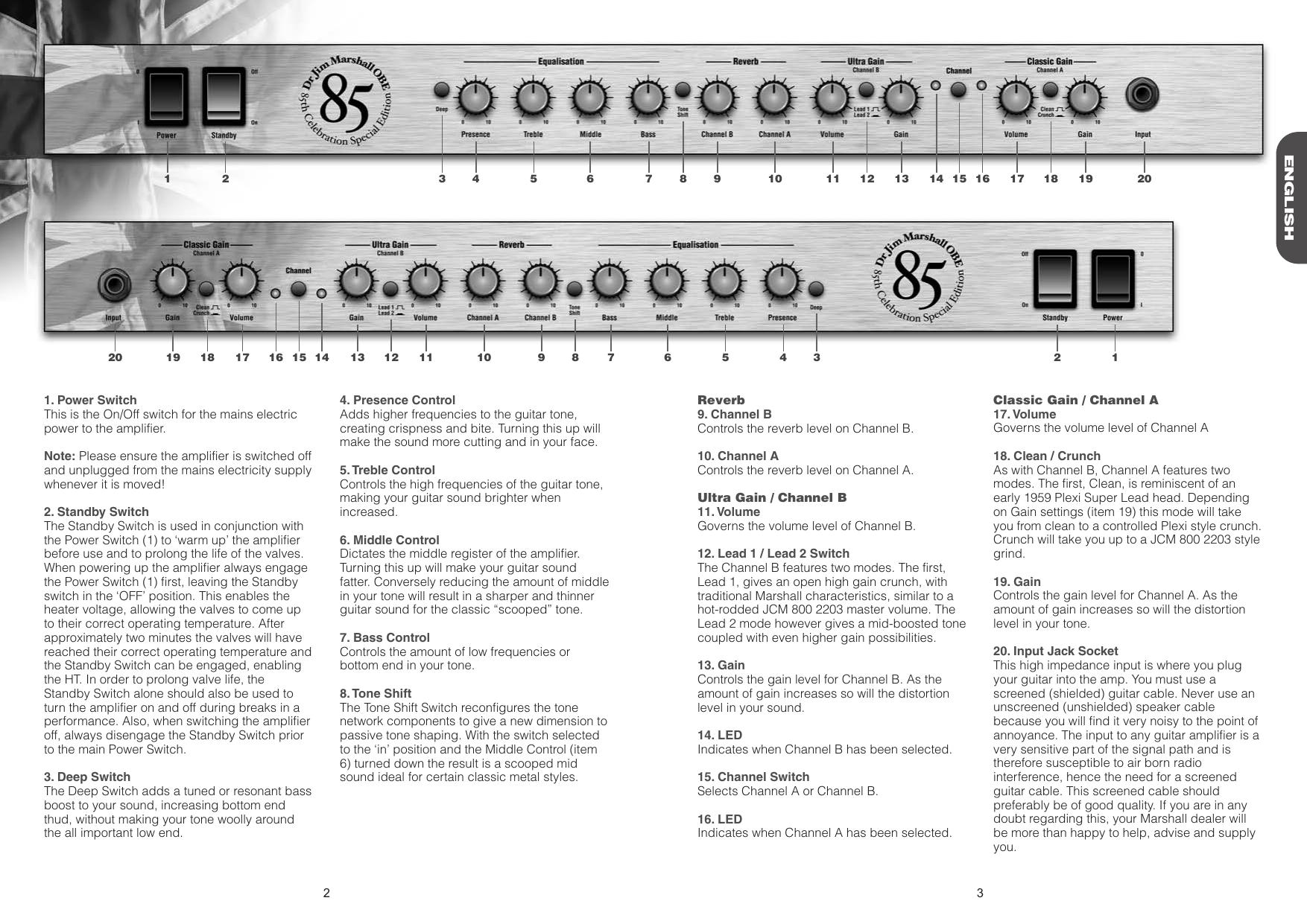 Page 3 of 4 - Marshall Marshall-1923-Users-Manual-  Marshall-1923-users-manual