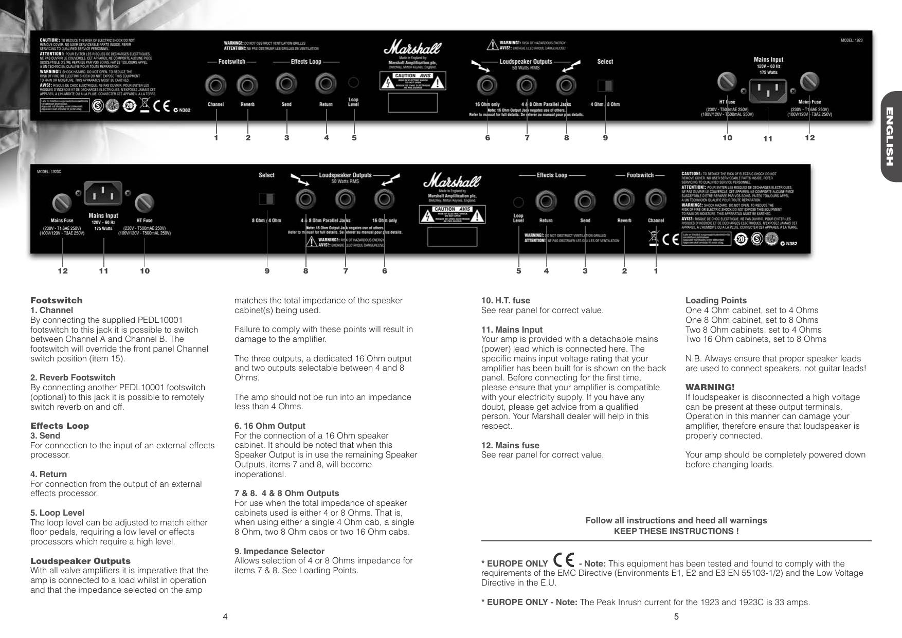 Page 4 of 4 - Marshall Marshall-1923-Users-Manual-  Marshall-1923-users-manual