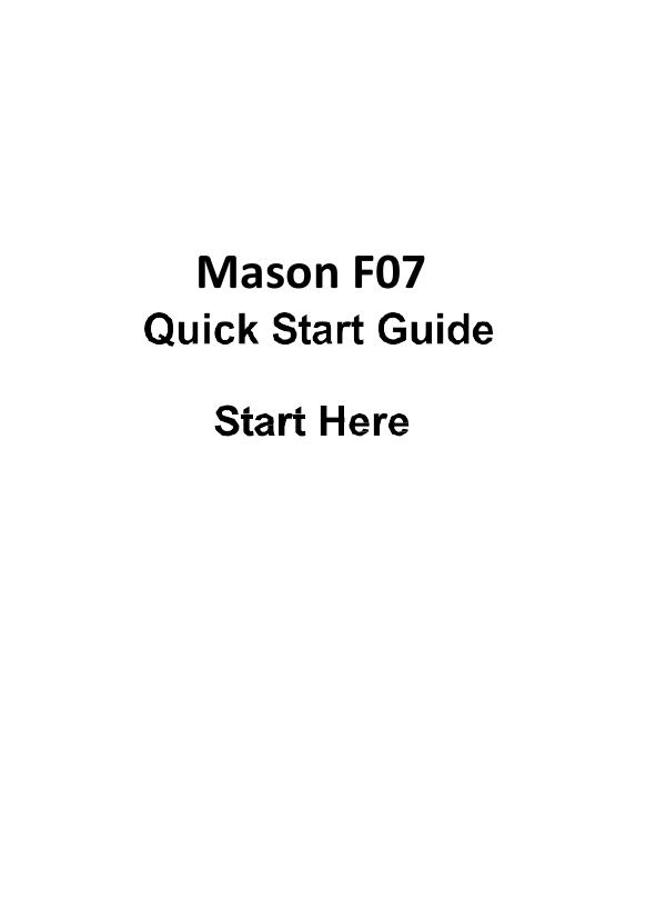 Mason America F07 F07 By Mason User Manual FL7008 Reliance