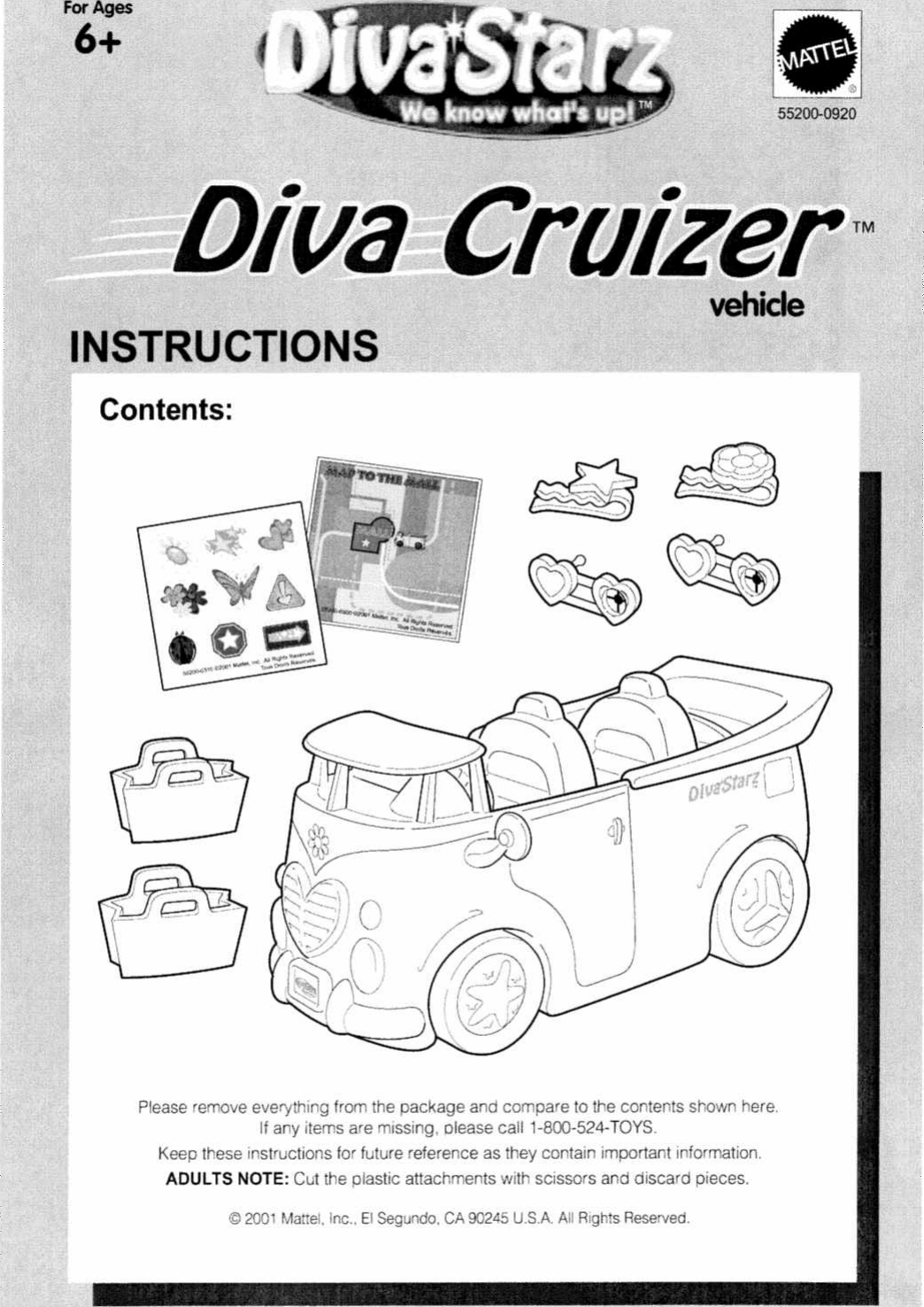 Page 1 of 3 - Mattel Mattel-Diva-Starz-55200-0920-Users-Manual-  Mattel-diva-starz-55200-0920-users-manual