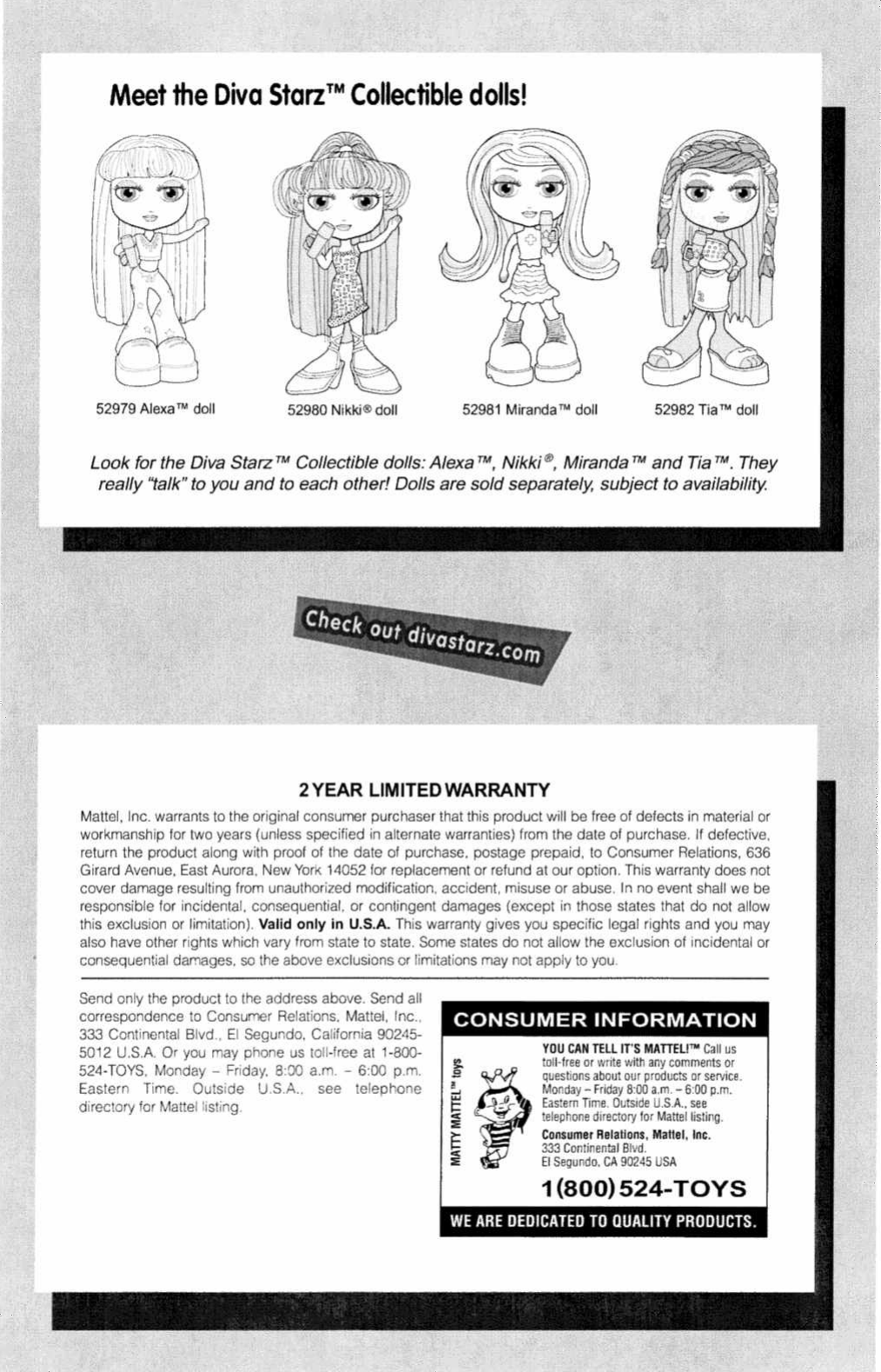 Page 3 of 3 - Mattel Mattel-Diva-Starz-55200-0920-Users-Manual-  Mattel-diva-starz-55200-0920-users-manual