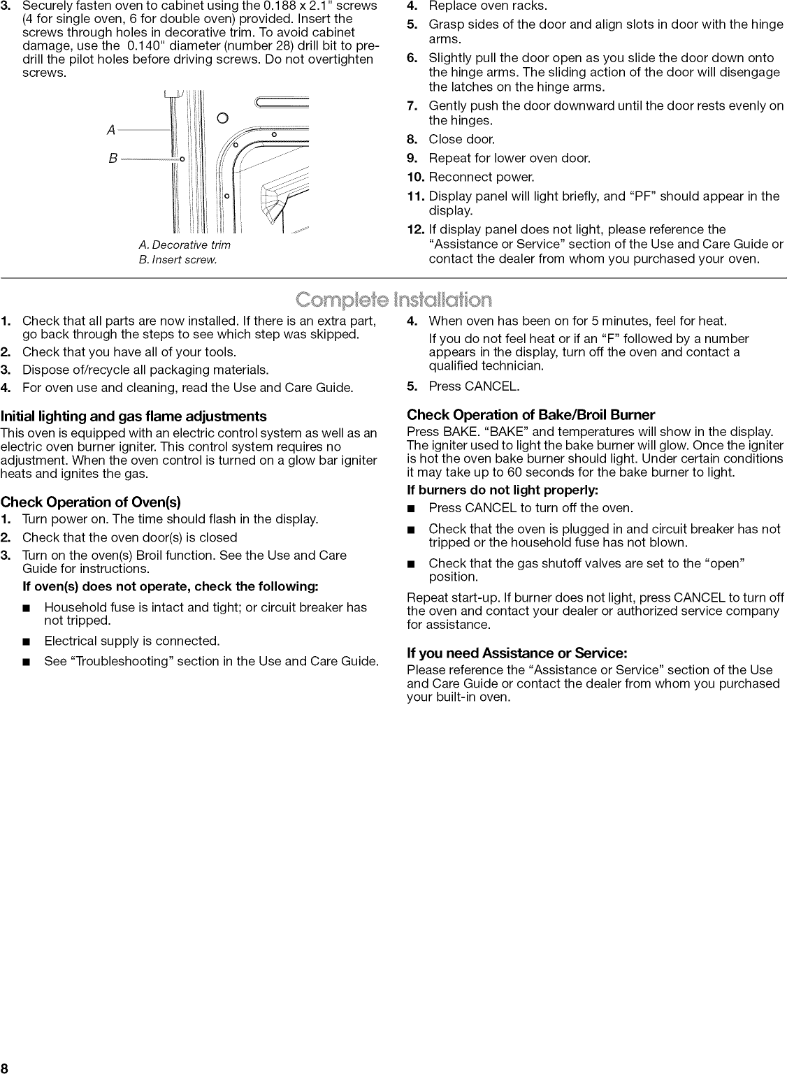 Maytag Cwg3100aas13 User Manual 24 Built In Gas Oven Manuals And Stove Element Wiring Diagram Page 8 Of 12