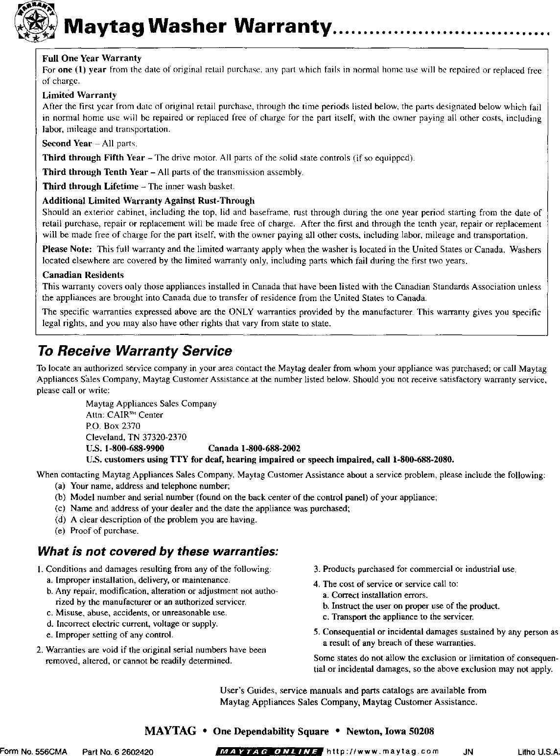 Maytag Mav5000aww User Manual Washer Manuals And Guides