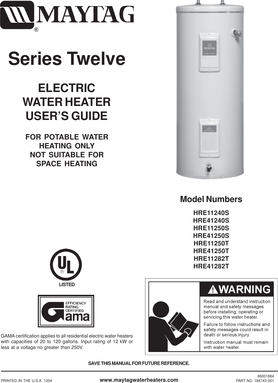 Amazing Maytag Hre11240S Users Manual Series 12 Electric Guide 184743 001 Wiring 101 Ziduromitwellnesstrialsorg