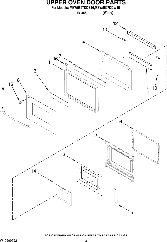 upper oven door parts3for models: mew5627ddb16,mew5627ddw16(black)