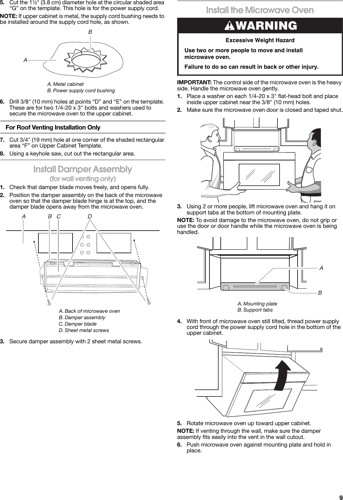 Maytag Mmv1174ds Installation Guide W10724866a Red 1 Ii Microwave Wiring Diagram Page 9 Of 12