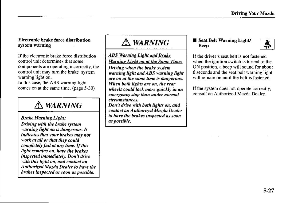 Mazda Proteg Owners Manual