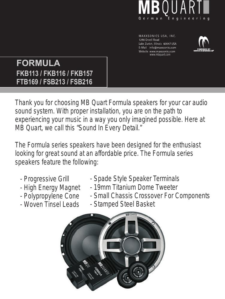 Mb Quart Fkb113 Users Manual MBQ Formula Speaker Front Cover