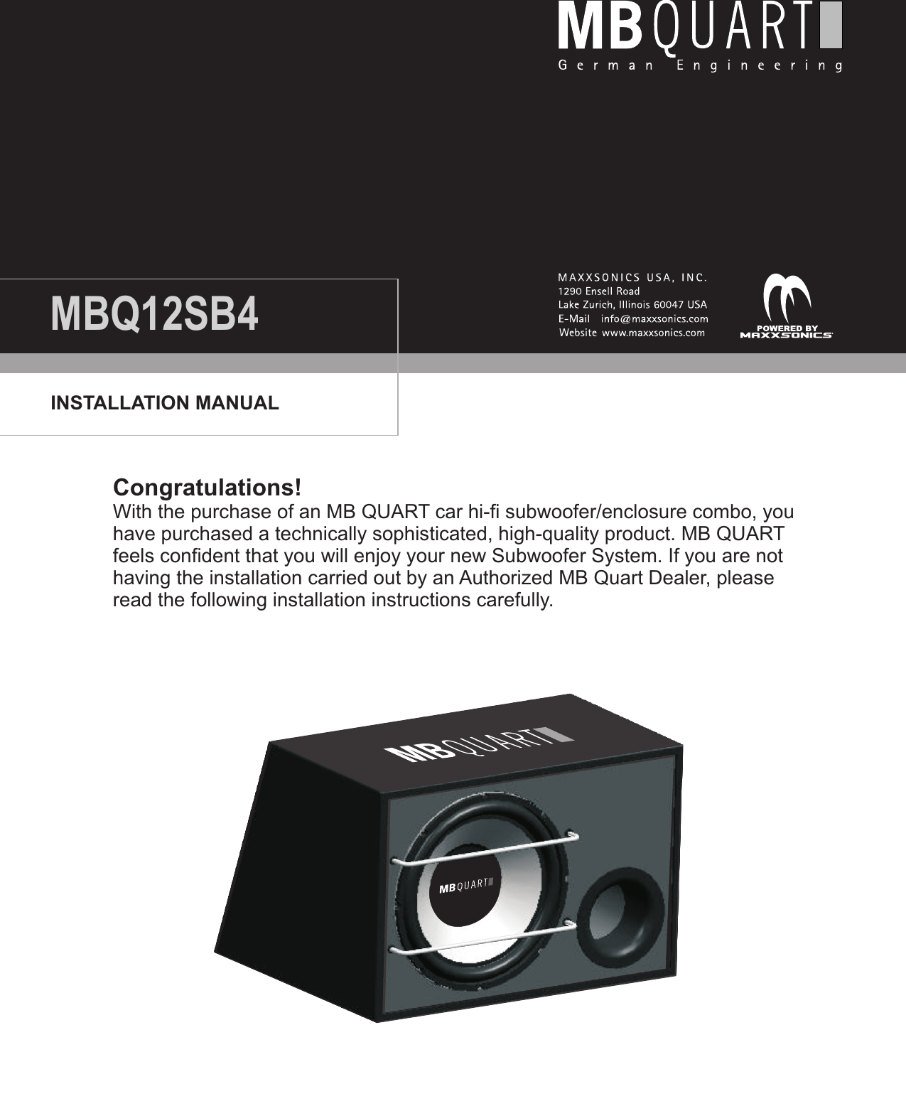 Mb Quart Subwoofer 2 Ohm Wiring Diagram Series Parallel Speaker Dvc Mbq12sb4 Users Manual On Woofer