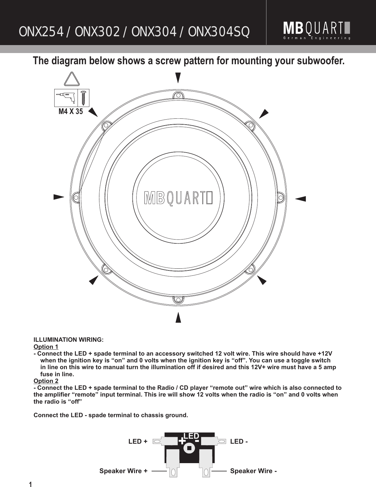 Mb Quart Subwoofer 2 Ohm Wiring Diagram Series Parallel Speaker For A Dual Voice Coil Onx254 Users Manual 2010 Onyx Front Cover On