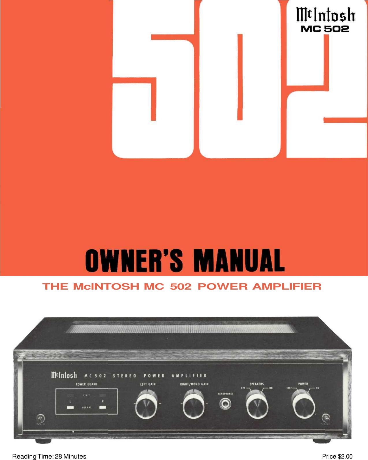 mcintosh mc 502 users manual