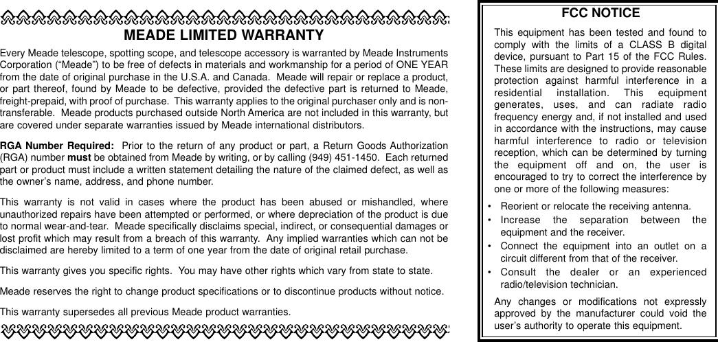 Page 11 of 12 - Meade Meade-497-Autostar-Computer-Controller-Instruction-Manual-  Meade-497-autostar-computer-controller-instruction-manual