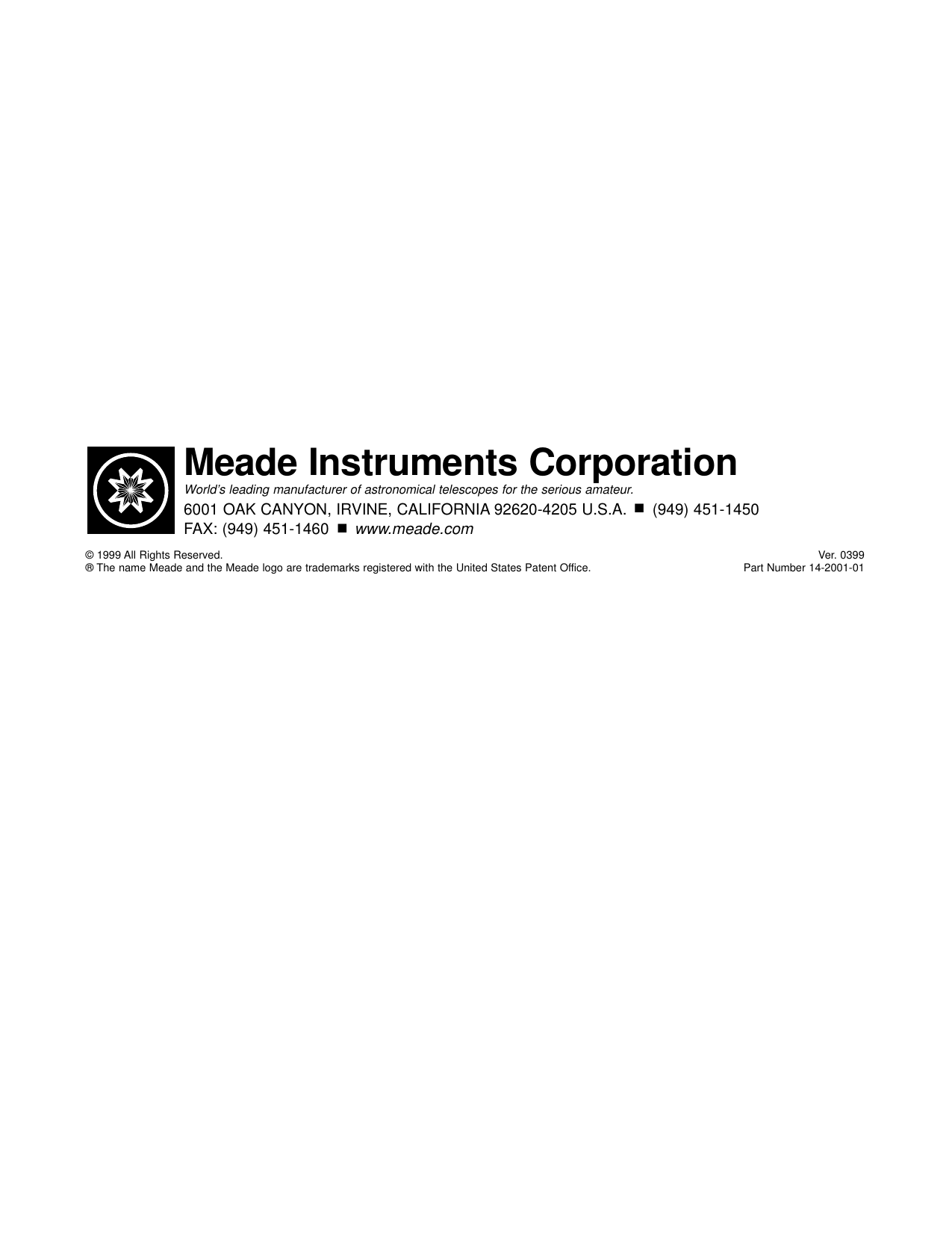 Page 12 of 12 - Meade Meade-497-Autostar-Computer-Controller-Instruction-Manual-  Meade-497-autostar-computer-controller-instruction-manual