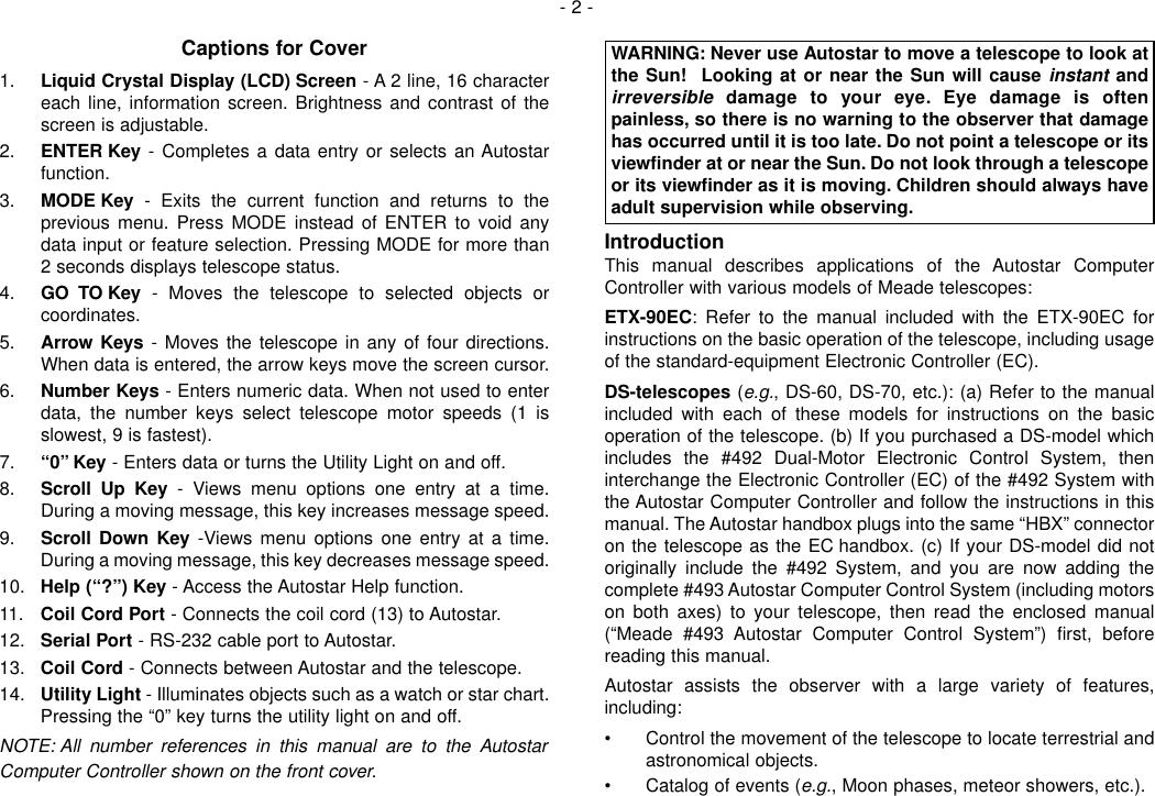 Page 2 of 12 - Meade Meade-497-Autostar-Computer-Controller-Instruction-Manual-  Meade-497-autostar-computer-controller-instruction-manual