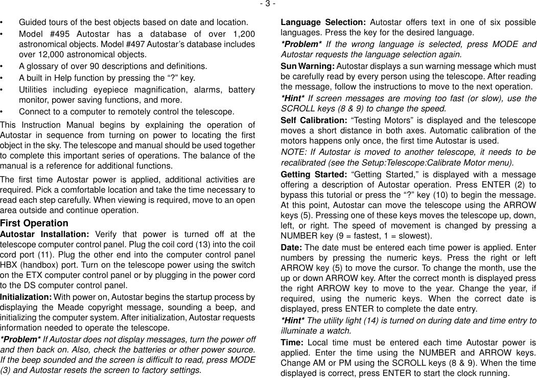 Page 3 of 12 - Meade Meade-497-Autostar-Computer-Controller-Instruction-Manual-  Meade-497-autostar-computer-controller-instruction-manual