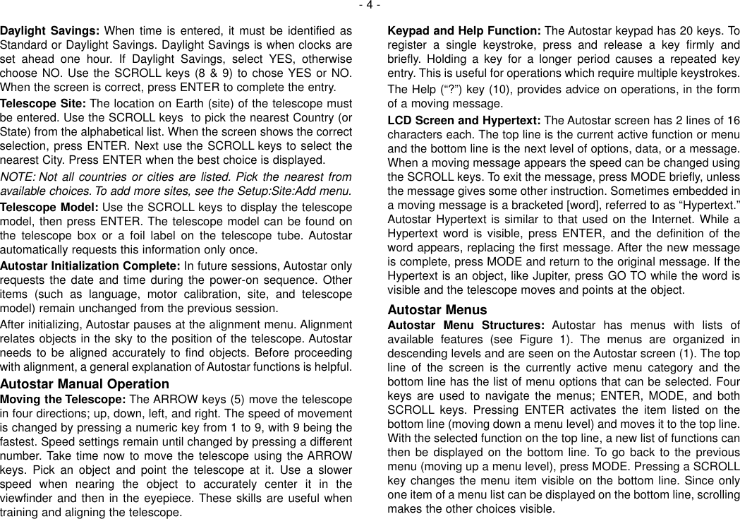 Page 4 of 12 - Meade Meade-497-Autostar-Computer-Controller-Instruction-Manual-  Meade-497-autostar-computer-controller-instruction-manual