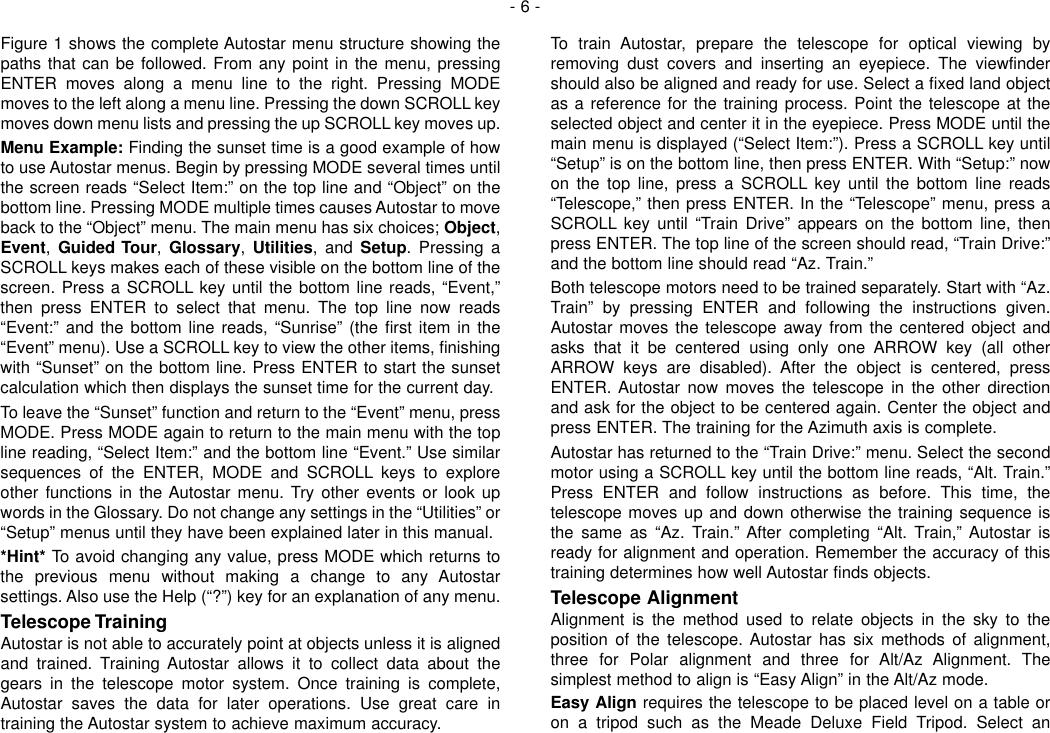 Page 6 of 12 - Meade Meade-497-Autostar-Computer-Controller-Instruction-Manual-  Meade-497-autostar-computer-controller-instruction-manual