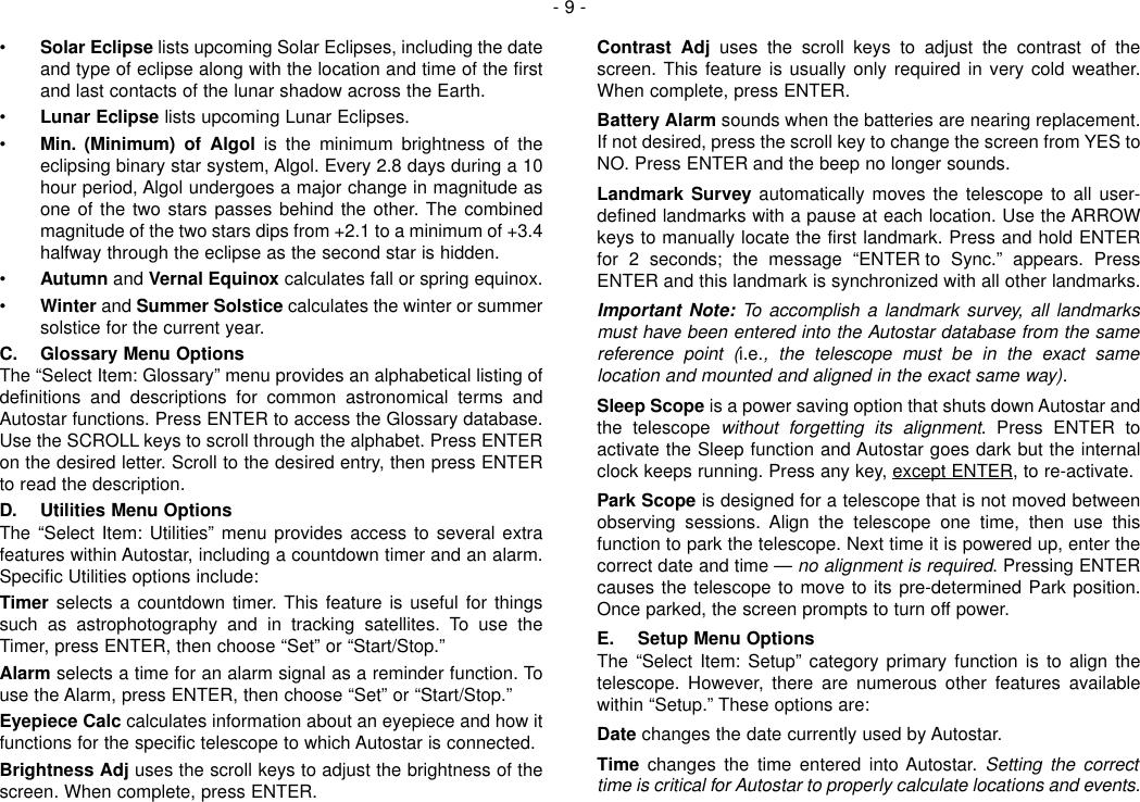 Page 9 of 12 - Meade Meade-497-Autostar-Computer-Controller-Instruction-Manual-  Meade-497-autostar-computer-controller-instruction-manual