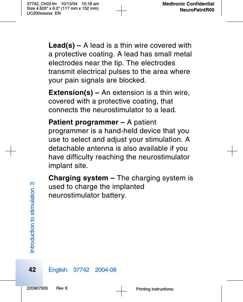 Medtronic 37741 Patient Programmer User Manual 37742 2004 Navigator Wiring Fm Antenna Diagram 220907005 Rev X37742 Ch03fm 10 13 04 1018 Amsize 4625quot