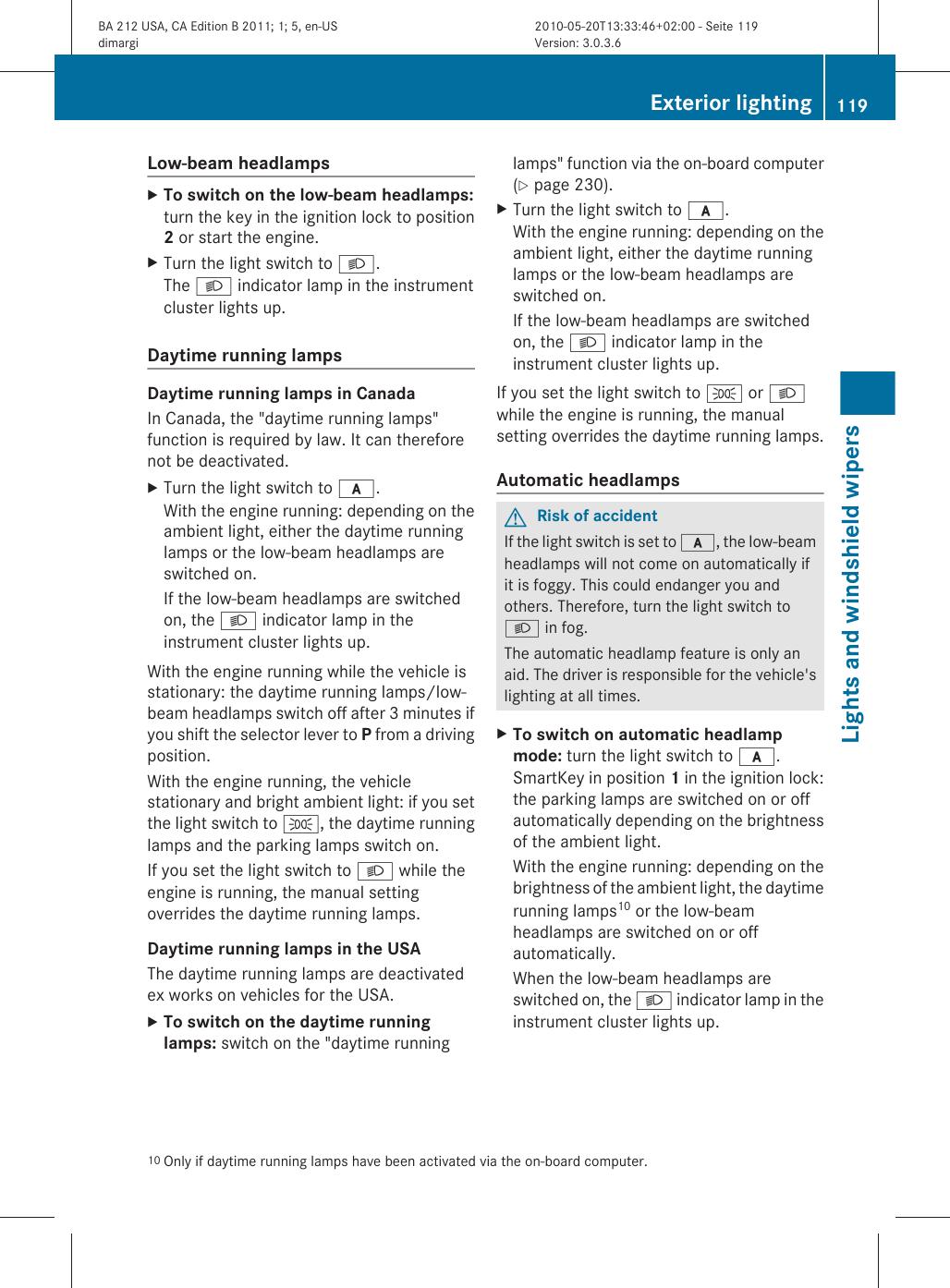 Mercedes Benz 2011 E350 4Matic Wagon Users Manual