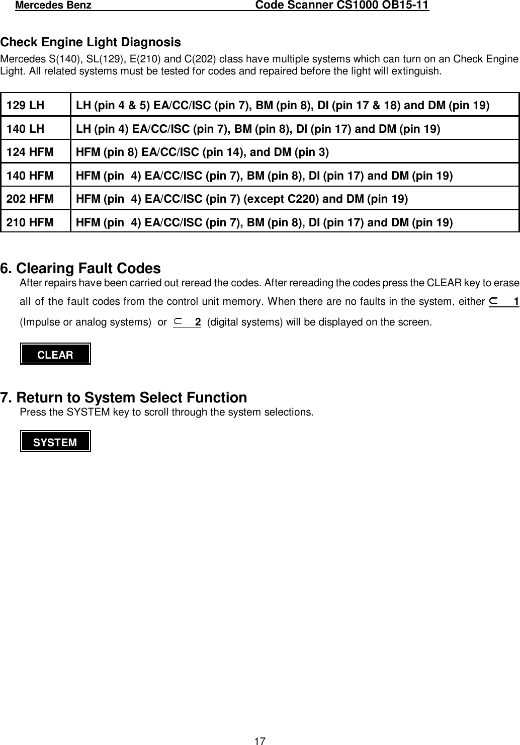 Mercedes Benz Cs1000 Users Manual