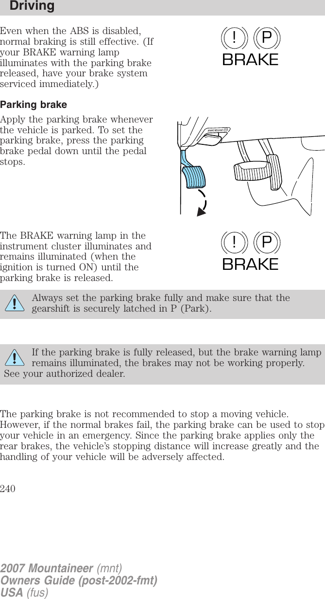 Disabled Parking Brake Chime