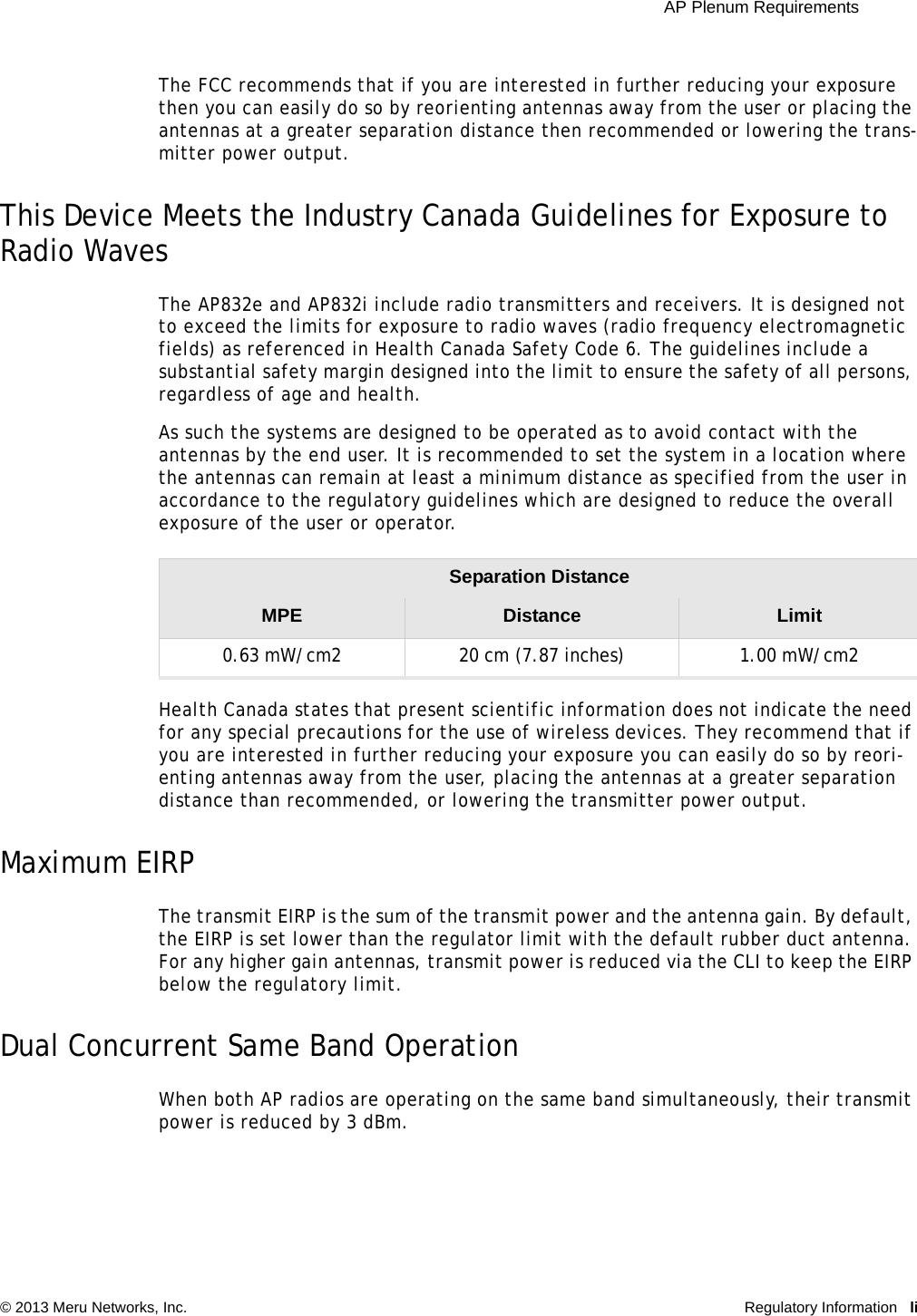 Meru Networks Ap832e Dual Radio Access Point User Manual Ap832