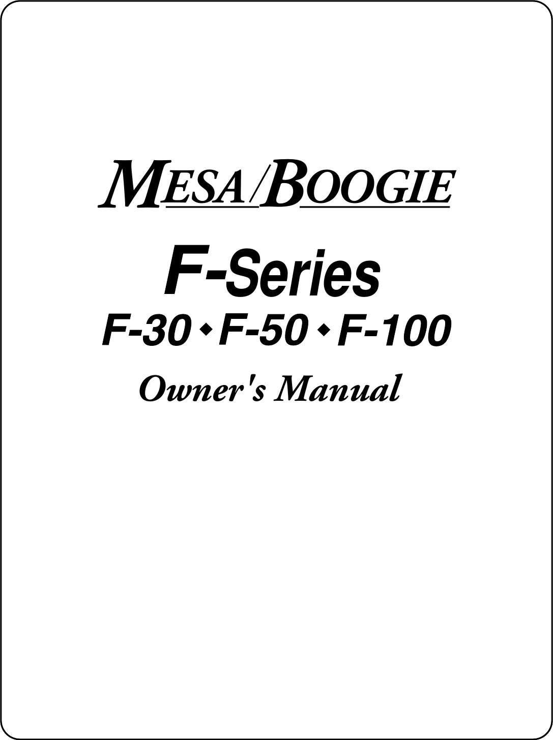 Mesa Boogie F 100 Users Manual Sers Jack Plate With Switch For Use Cabinets And More
