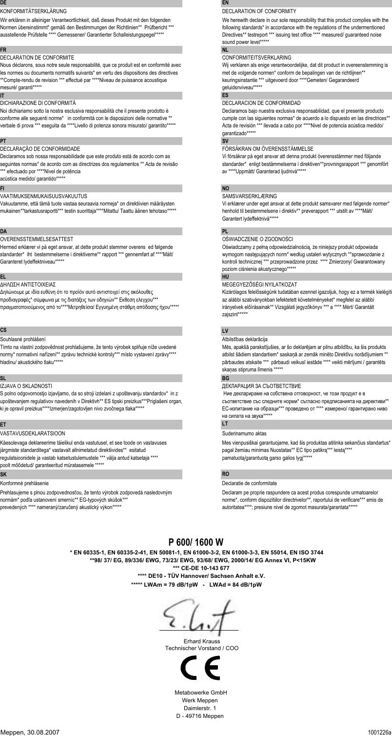 Metabo 1600 D Users Manual P600_1600_metabo