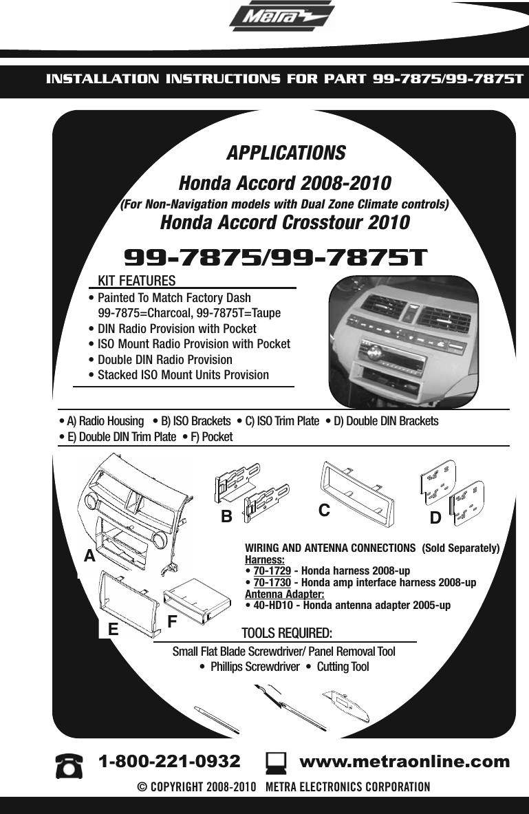Metra Electronics 99 7875 Users Manual INST99