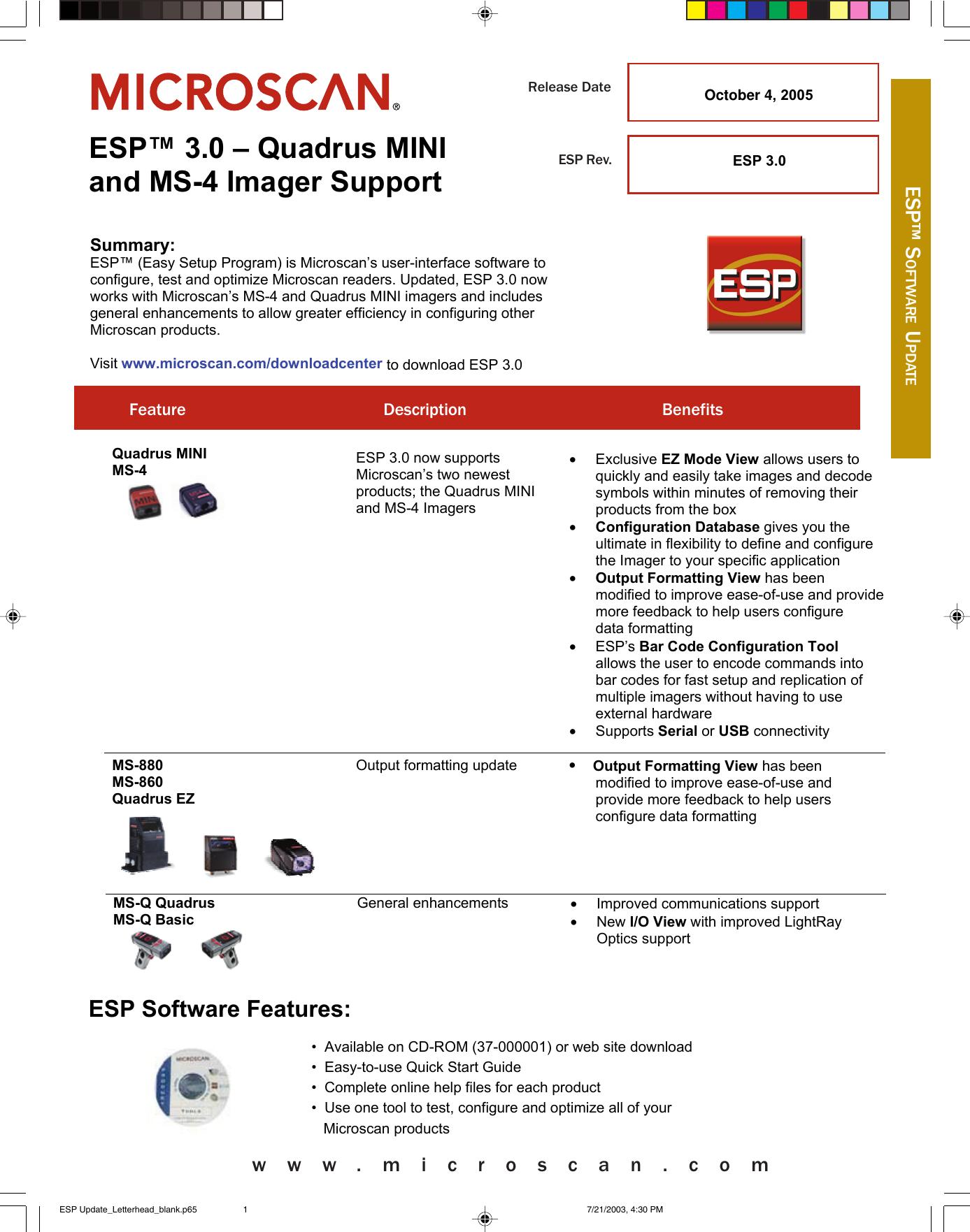ESP Update_Letterhead_blank p65 ESP3 0 Release