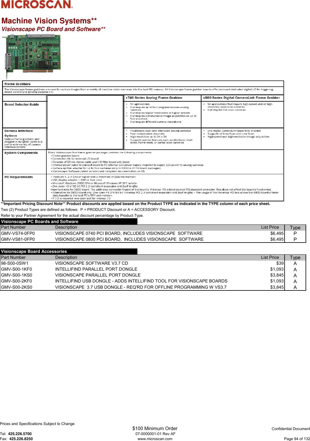Microscan Product Pricing Catalog (U S ) Price Guide U S