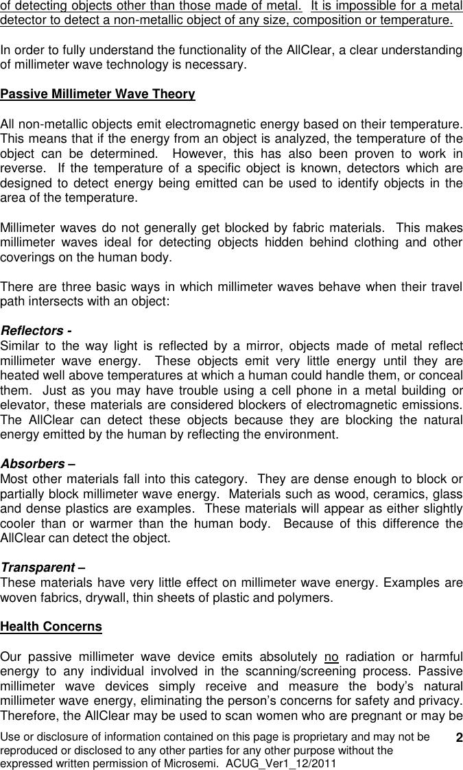 Microsemi RFIS ALCH7 HANDHELD METAL DETECTOR User Manual