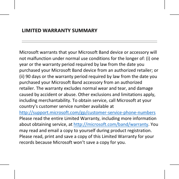 microsoft band warranty