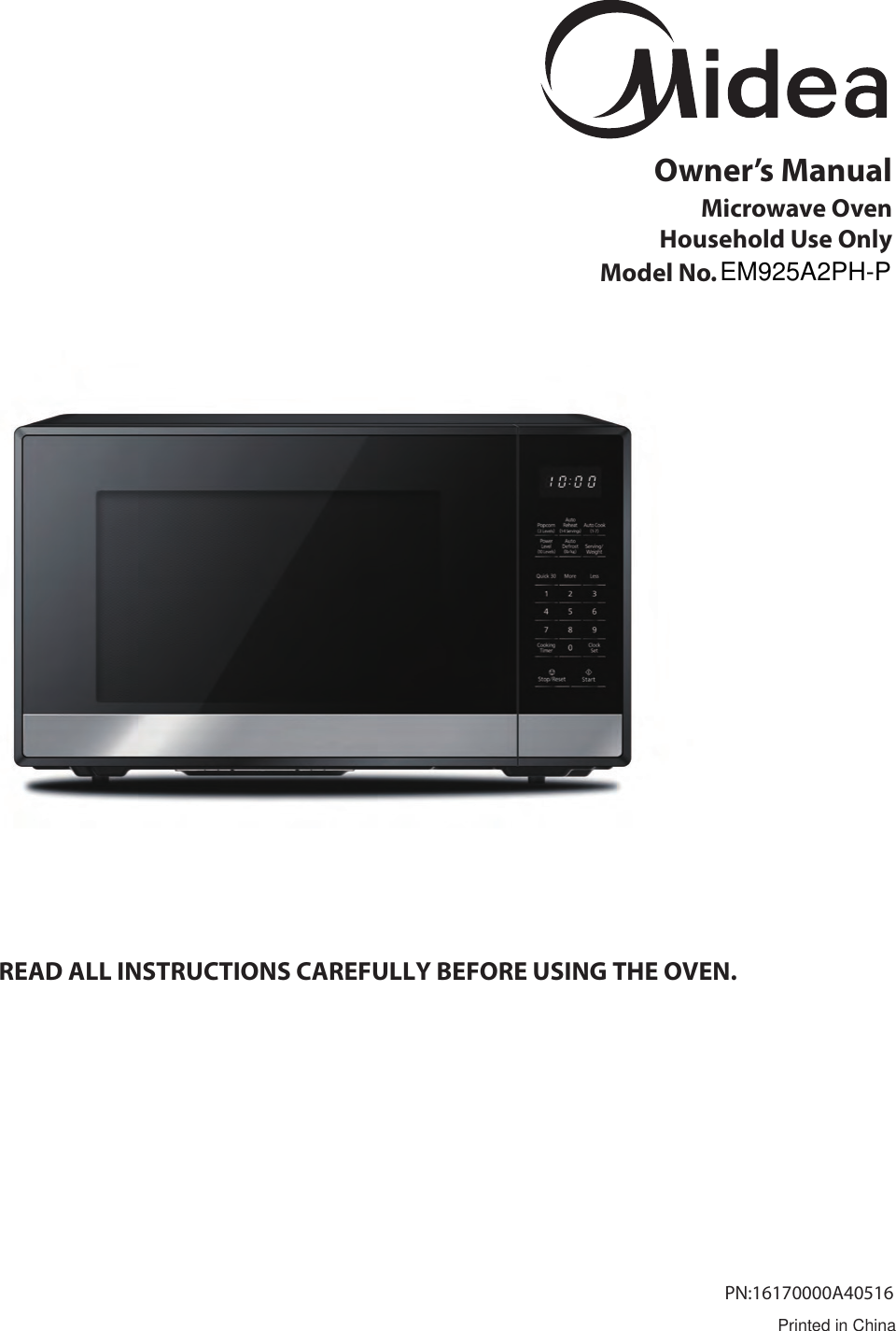 Midea Kitchen Appliances EM925AYYPA Microwave Oven User Manual