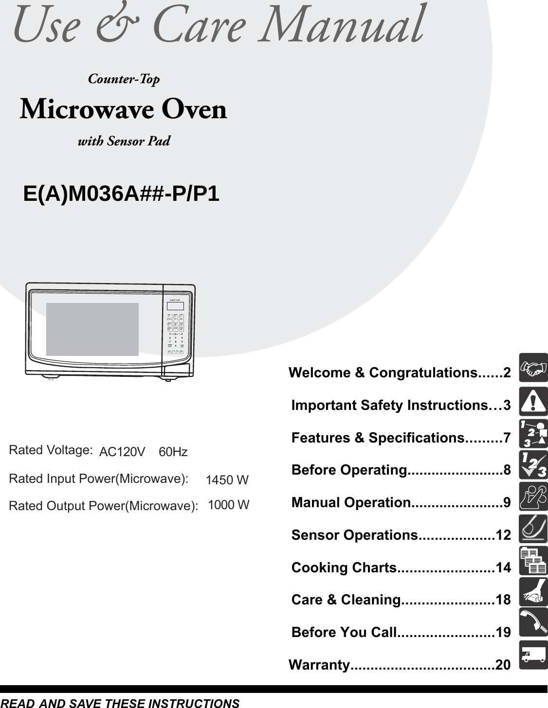 Midea Kitchen Appliances XM036AYY Microwave Oven User Manual