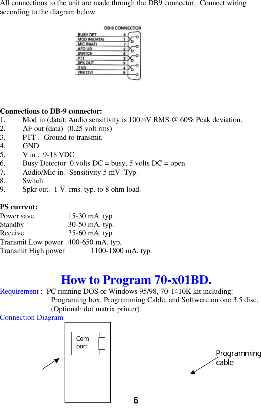 Midland Radio 70201bd Uhf Transceiver User Manual Service Ptt Switch Wiring 6 All Connections To The Unit Are Made Through Db9 Connector Connect According