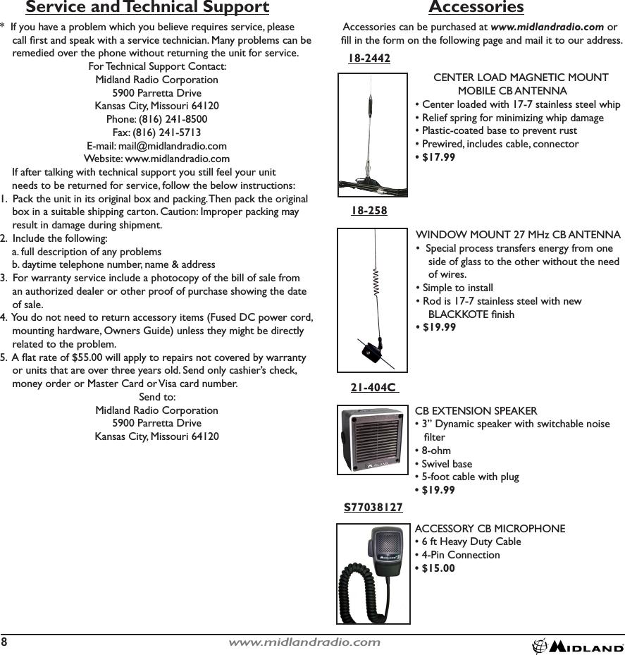 Midland Radio 9001 CB TRANSCEIVER User Manual 9001z Manual indd