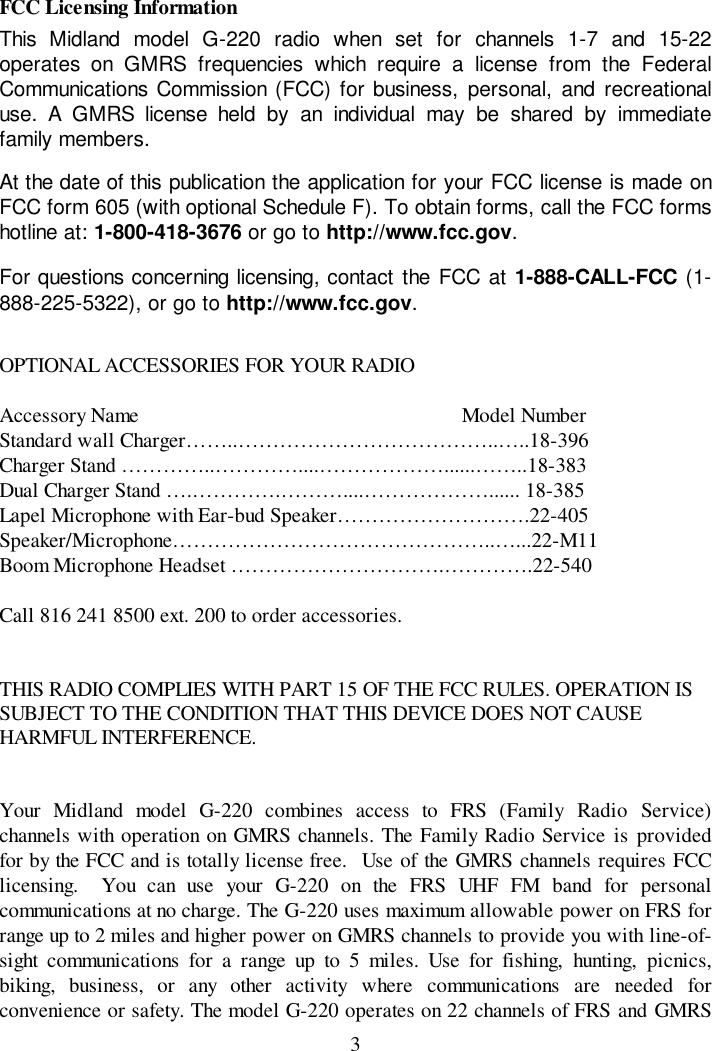 Midland Radio G220 Combination Frsgmrs Transceiver User Manual User