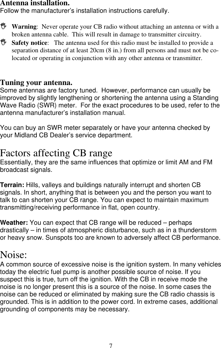 Midland Radio 1001Z Users Manual 1001 MOBILE CB