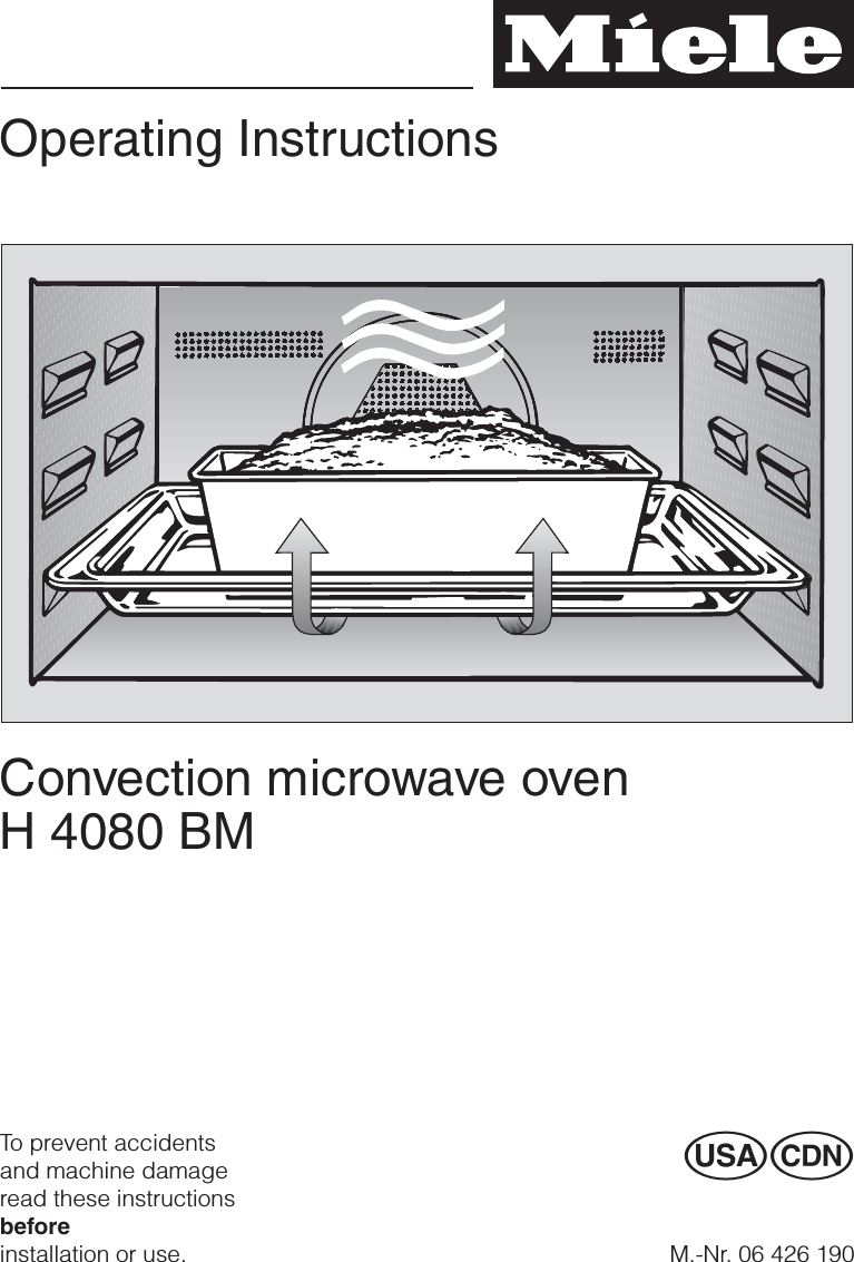 Miele And Cie Kg Mw6041 Household Microwave Convection Oven User Manual Usermanual