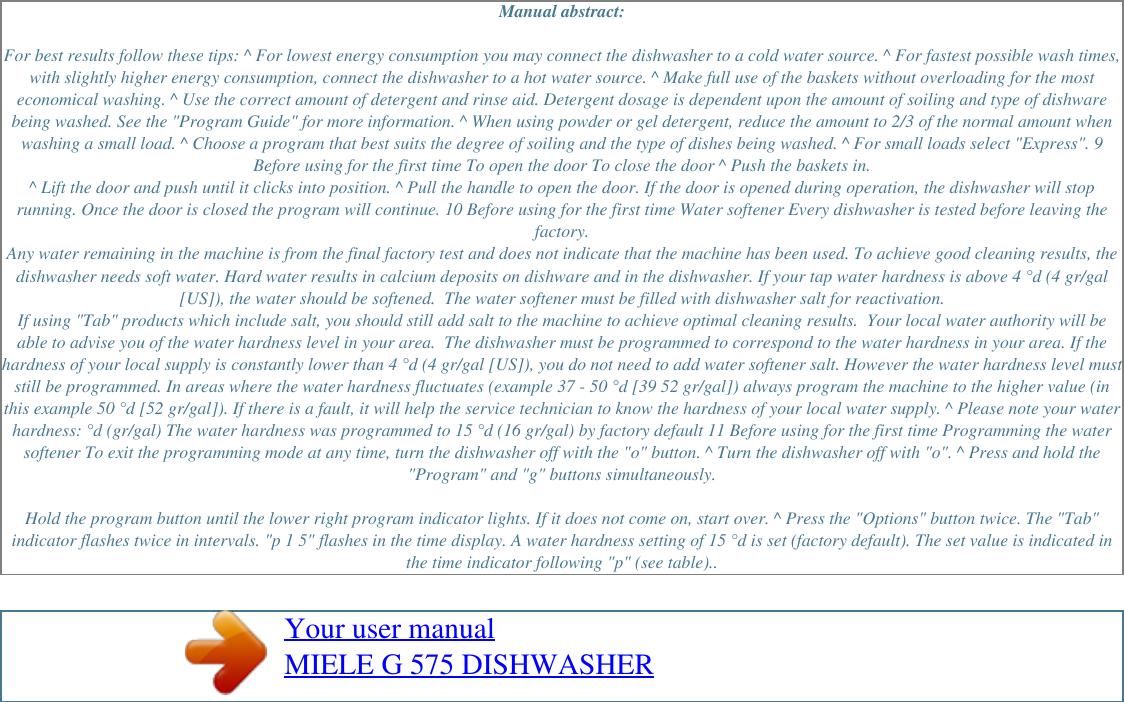 Page 2 of 2 - Miele Miele-Dishwasher-G-1262-Users-