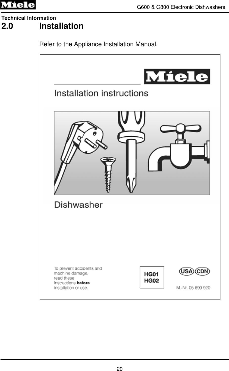 Miele Dishwasher G600 Users Manual 1