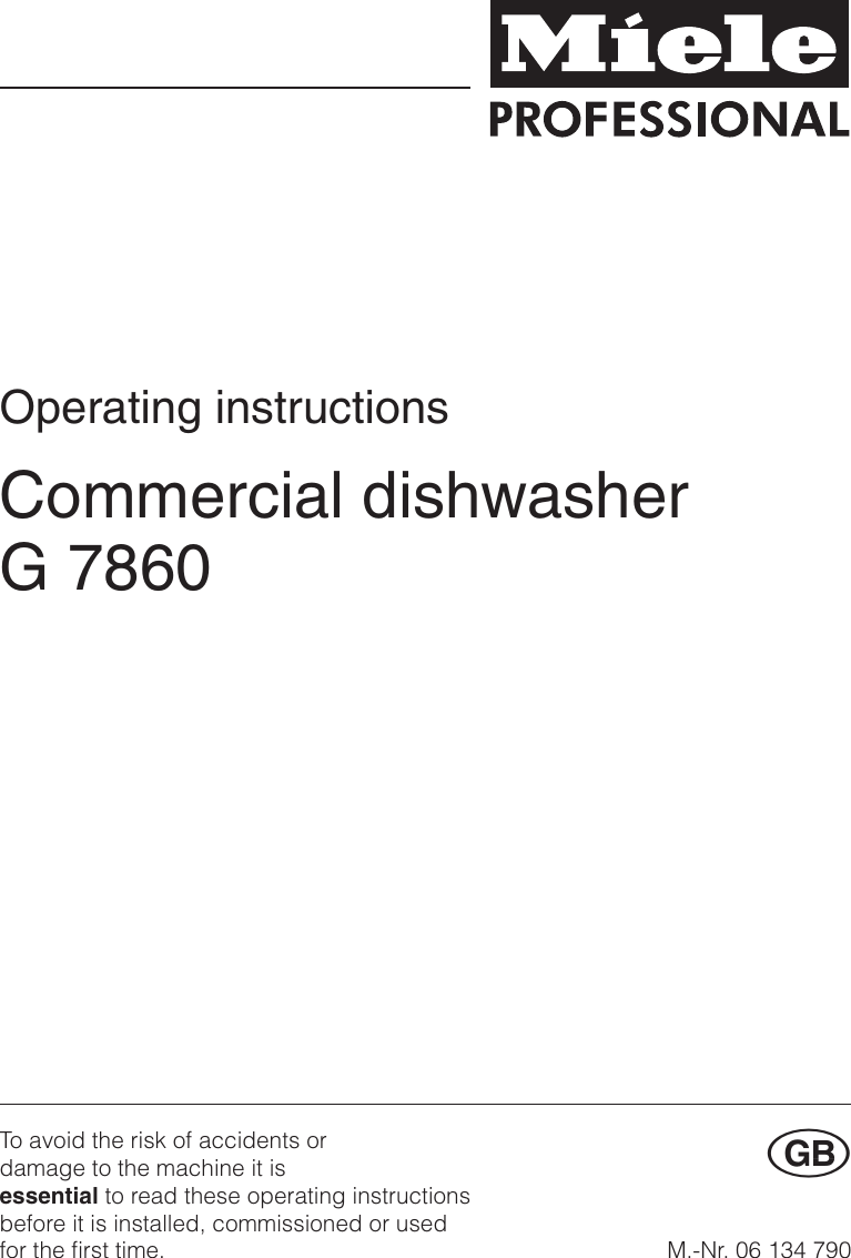 Miele Dishwasher G 7860 Users Manual