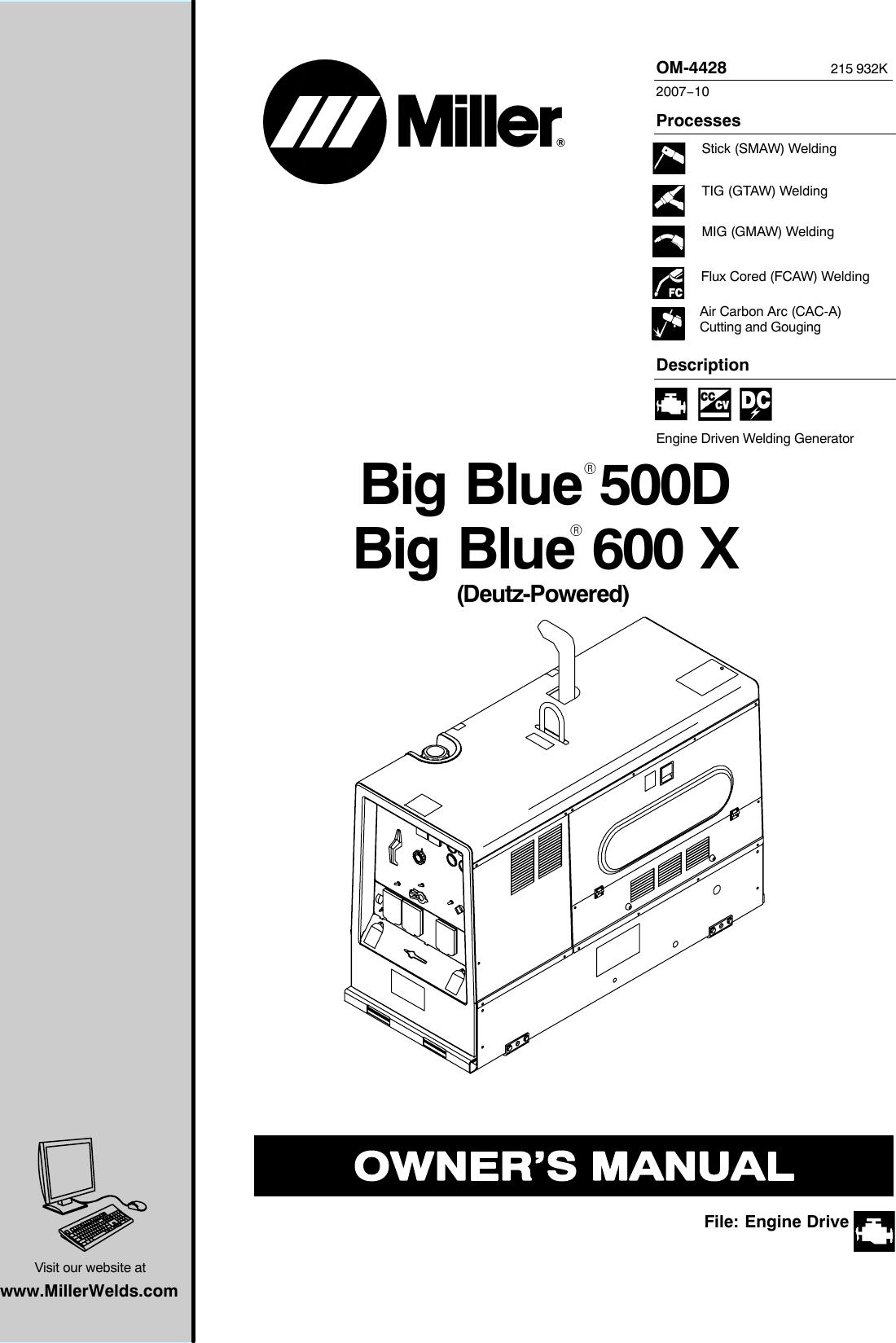 Miller Electric 500d Users Manual O4428k Mileco3934 Welding Generator Diagram